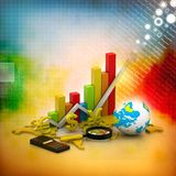 Analyzing World business graph Royalty Free Stock Photo