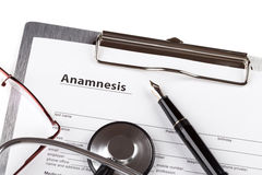 Anamnesis form on the clipboard Royalty Free Stock Images