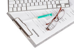 Anamnesis form on the clipboard Royalty Free Stock Photos