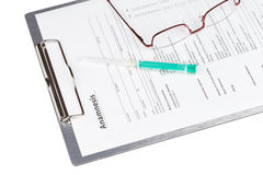 Anamnesis form on the clipboard Royalty Free Stock Photography