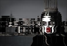 Anamorphosis en artistieke misvorming van een verschrikkelijk prinses met wit masker, kroon en rode lippenstift royalty-vrije illustratie