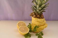 Ananasów plasterki cytryna i pietruszka na bielu stole Obrazy Royalty Free