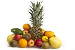 Ananas, Abschluss der tropischen Frucht oben lokalisiert Stockfotografie
