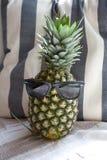 Ananas avec des lunettes de soleil devant le coussin de plage photo libre de droits