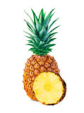 Ananas avec le plan rapproché de tranche sur le fond blanc photographie stock
