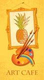 Ananas avec les balais et la palette Photos libres de droits