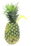 Ananas avec une paille Photo stock