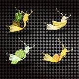 Ananas banan, druvor, orange fruktsaft Ny frukt och puttefnask, vektor för symbol 3D stock illustrationer
