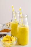 Ananas, banan, kokosnöt, gurkmeja och Chia Seed Smoothies Arkivbilder