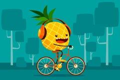 Ananas berijdende fiets in het park Stock Fotografie