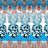 Ananas cellebration-Fruit Verrukking Naadloos herhaal Patroonillustratie Achtergrond in Blauw, Zwart-witte Sinaasappel vector illustratie