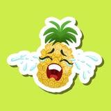 Ananas che grida alto, autoadesivo sveglio di Emoji su fondo verde Fotografie Stock