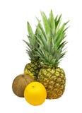 Ananas, Cocos und Orange lokalisiert. Lizenzfreie Stockbilder