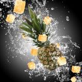 Ananas con la spruzzata dell'acqua fotografia stock