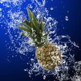 Ananas con la spruzzata dell'acqua immagine stock libera da diritti