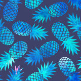 Ananas d'annata dell'acquerello senza cuciture Fotografie Stock Libere da Diritti