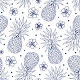 Ananas d'annata senza cuciture Fotografia Stock Libera da Diritti