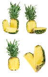 Ananas d'isolement sur le fond blanc Ensemble ou collection Images libres de droits