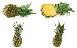 Ananas d'isolement sur le fond blanc Ensemble ou collection Photo libre de droits