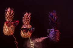 Ananas de concept, noirs et d'or de club dans des lunettes de soleil photographie stock libre de droits