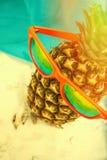 Ananas del fondo di estate con gli occhiali da sole Fotografie Stock