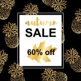 Ananas dell'oro Modello di Autumn Sale illustrazione di stock