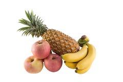 Ananas della banana di Cuba isolato su bianco Fotografie Stock Libere da Diritti