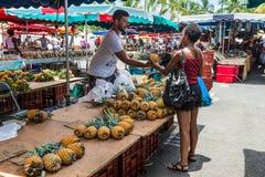 Ananas der frischen Frucht des Verkäufers Lizenzfreies Stockbild