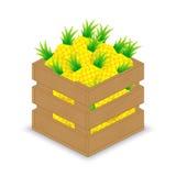 Ananas in der hölzernen Kiste Stock Abbildung