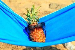 Ananas in der Sonnenbrille auf dem Strand Stockfotografie