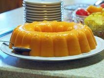 Ananas, dessert de gélatine orange. Photographie stock libre de droits