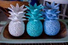 Ananas di legno Fotografie Stock