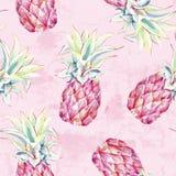 Ananas di rosa dell'acquerello sul fondo di lerciume Modello senza cuciture artistico della frutta tropicale illustrazione di stock