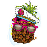 Ananas divertente in un cappuccio del ` s di capitano Illustrazione di vettore royalty illustrazione gratis