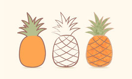 Ananas drie Aricature Ð ¡ Vector illustratie Royalty-vrije Stock Afbeelding