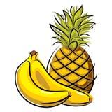 Ananas e banane Fotografie Stock