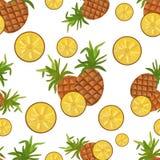 Ananas e foglie senza cuciture del modello illustrazione vettoriale