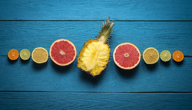Ananas ed agrume affettati Immagini Stock