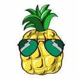 Ananas ed occhiali da sole svegli Fotografia Stock