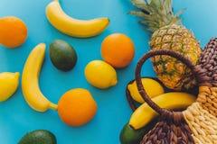 Ananas en bananen, sinaasappelen, citroenen, avocado in modieuze strobedelaars Stock Foto