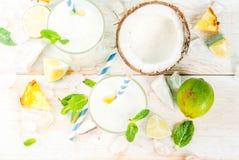 Ananas en kokosnotenmojito of smoothie Stock Foto's