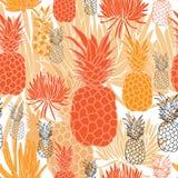 Ananas en succulent-Fruit naadloze de Verrukking herhaalt Patroonillustratie Achtergrond in Zwart-witte Grren vector illustratie
