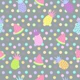 Ananas en watermeloen naadloze patronen op puntachtergrond Stock Afbeelding