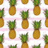 Ananas et copie sans couture de vecteur de rayures tirées par la main Photos libres de droits