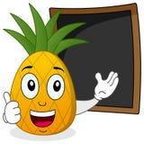 Ananas et tableau noir de recette ou de menu Image libre de droits