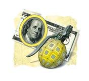 Ananas F1 d'armes de grenade sur le fond des dollars US de la note 100, formant un signe symbolique illustration libre de droits