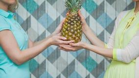 Ananas femminile della tenuta di due mani insieme Fotografie Stock Libere da Diritti