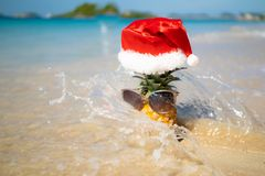 Ananas i exponeringsglas och julhatt på den vita sanden som förbiser det blåa havet arkivbilder