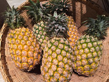 Ananas im Korb Stockbild