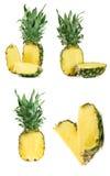 Ananas isolato su fondo bianco Insieme o raccolta Immagini Stock Libere da Diritti